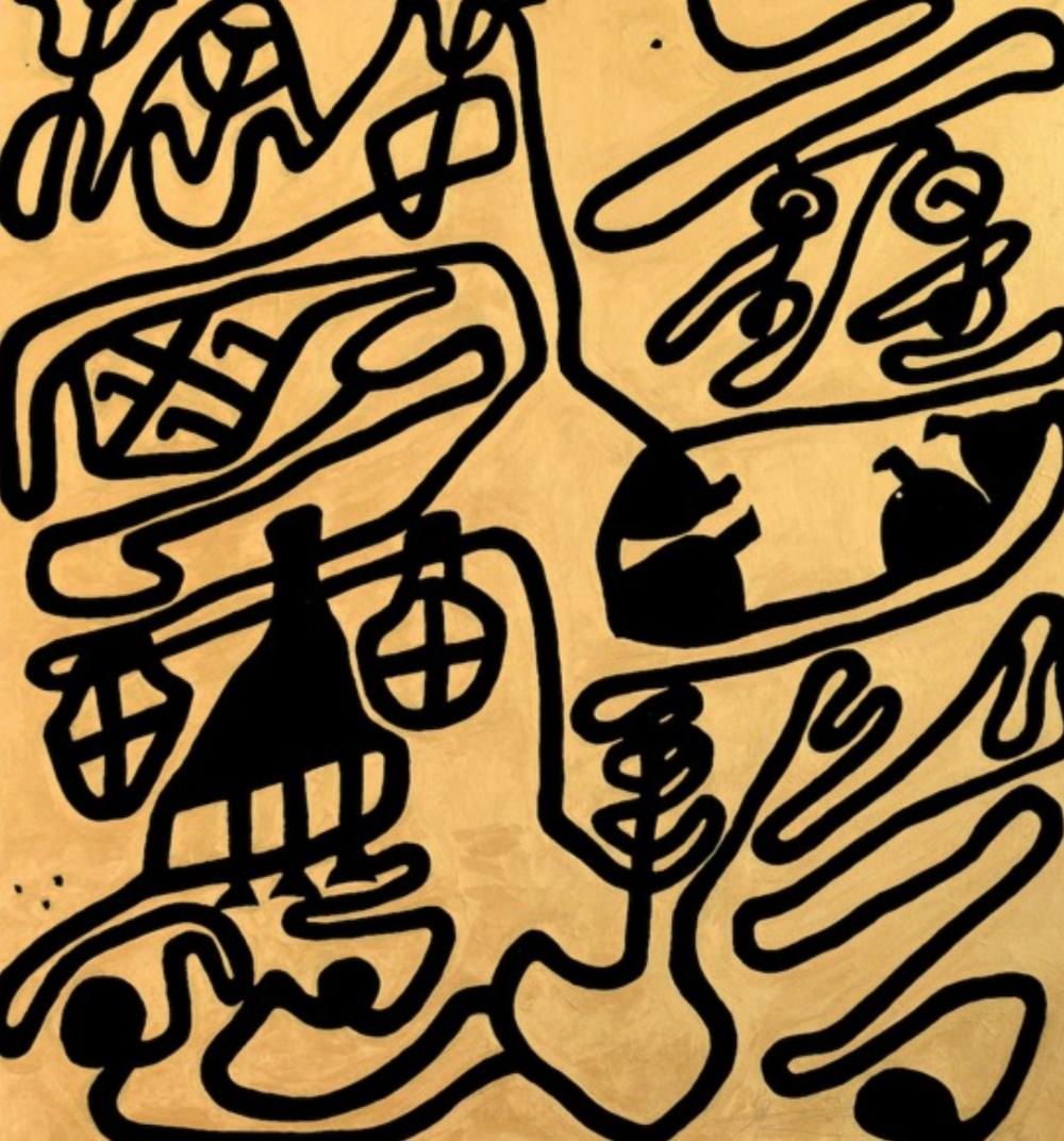 Wei Ligang  魏⽴刚 Gold Ink Cursive. Jiu Pu Yu Lun Pao Ink Acrylic rice paper 97 x 90.5 cm 2012